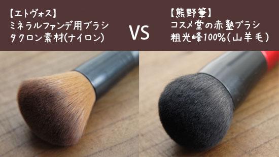 フェイスブラシ 人工毛VS天然毛比較
