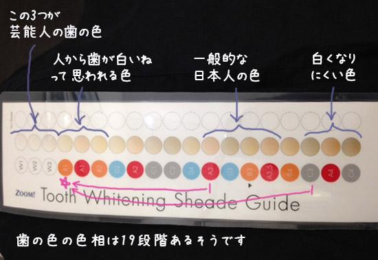 歯のホワイトニング 歯の色種類 日本人一般的な色 1