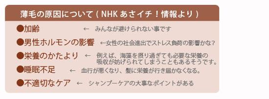 女性の薄毛原因 NHKあさイチ!