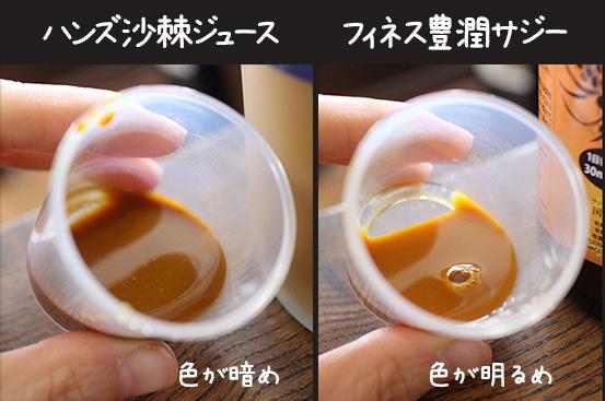 フィネス豊潤サジー と ハンズ沙棘ジュース 飲み比べ 比較 1